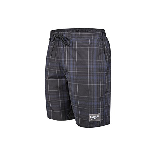 Speedo Men's Yarn-Dyed Check Leisure Watershorts-Black/Oxid Grey/USA Charcoal, Large/18-inch
