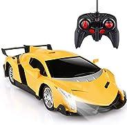 نموذج سيارة اطفال ميني جرافيتي، سيارة مزودة بجهاز تحكم عن بعد للاولاد كهدية (لون اصفر)