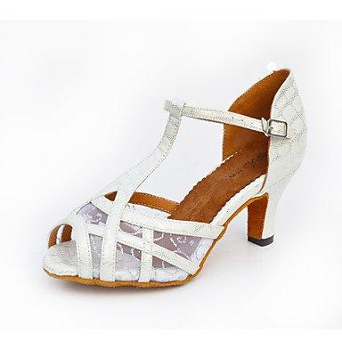 Silence @ Chaussures de danse pour femme Salsa en similicuir évasé au niveau du talon Noir/blanc/doré doré