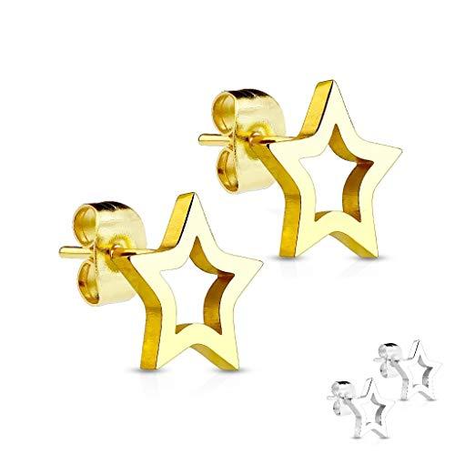 Treuheld®   Silberne oder Goldene Ohrstecker mit Sternen - Edelstahl Ohrringe - Ohrstecker für Damen, Mädchen, Herren und Jungs in Silber oder Gold - Ohrschmuck mit Stecker [02.] - Gold