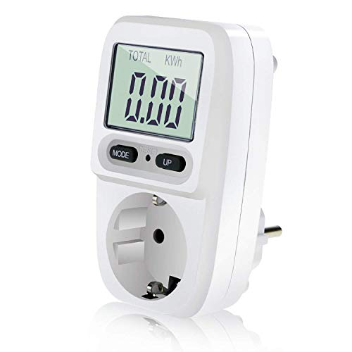 Zaeel Energiekostenmessgerät Stromkostenmessgerät Leistungsmessgerät, Energiekosten-Messgerät mit LCD Bildschirm, Überlastsicherung, Maximale Leistung 3680W -