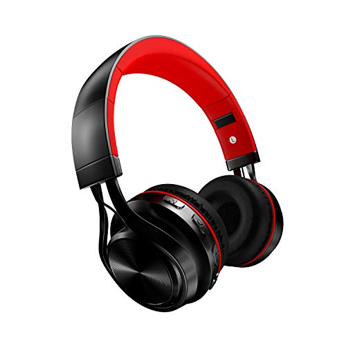 Cuffie Bluetooth senza fili con cancellazione attiva del rumore, auricolare stereo pieghevole con auricolare over-ear da viaggio con microfono incorporato per iOS, Android, MP4, PC (rosso)