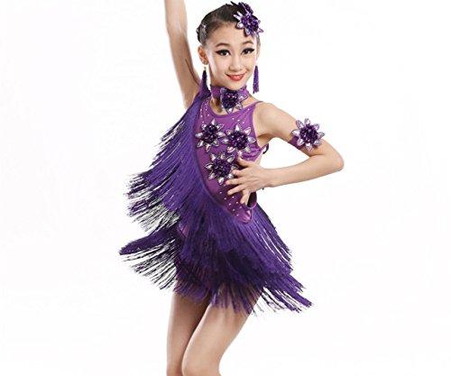 SMACO-Lateinamerikanische Tanzkleidung für Kinder Kinder Fringe Latin Dance Performance Mädchen Latin Dance Kostüm Tanz Kostüm Wettbewerb Weiß/Rose Rot/Gelb/Lila/Schwarz/Rot, 150cm, Purple