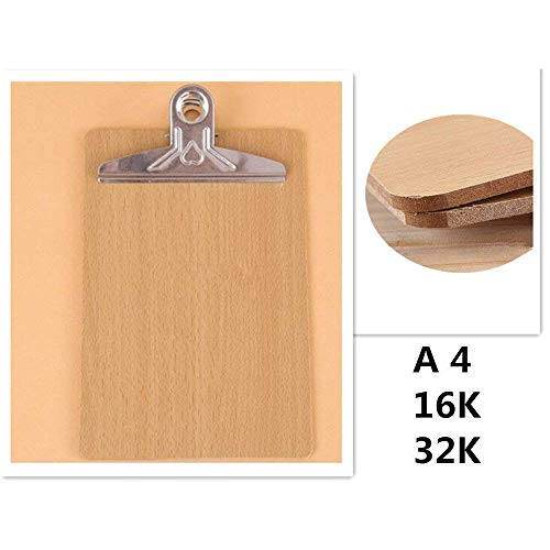 Ardisle 10 x Wooden A4 Clipboard Hardboard Chrome Clip Small Menu Board Rigid Document