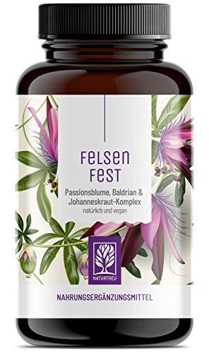 FELSENFEST - Johanniskraut Baldrian Passionsblume Kapseln hochdosiert - Vegan - Natürlicher Stimmungsaufheller mit Folsäure & B12 - Ohne chemische Beruhigungsmittel Mensch - 90 Kapseln