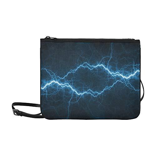 EIJODNL Funkenentladung Strom Muster Benutzerdefinierte hochwertige Nylon Slim Clutch Bag Cross-Body Bag Umhängetasche