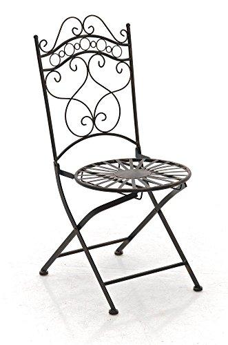 Metall Klapp-Stuhl bronzefarben für Garten, Terrasse, Balkon; Garten-Möbel im antiken Design mit...