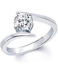 VK Jewels Surprise Delight Rhodium Plated Brass Alloy Cz American Diamond Ring For Girls & Women [VKFR1028R]