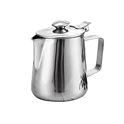 MagiDeal Stainless Steel Coffee Pitcher Craft Latte Milk Frothing Jug With Lid - silver, 1.5L