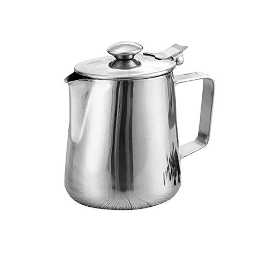 MagiDeal Edelstahl Milchkännchen, Milk Pitcher Edelstahl für Milchaufschäumer Craft Kaffee Latte Milch Aufschäumen Krug mit Deckel - Silber, - Metall-krug Deckel Mit