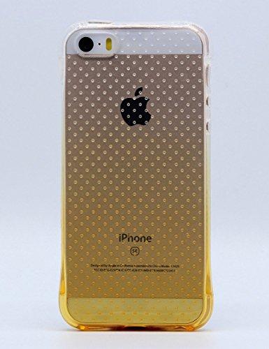 iPhone 5 Stoßfeste Schutzschale, iPhone SE Schutzhülle, Hamyi Gradient Steigung Farbe Weich Flexibel Stoßdämpfung Schale für iPhone 5 und iPhone 5S und iPhone SE (Gold) Gold