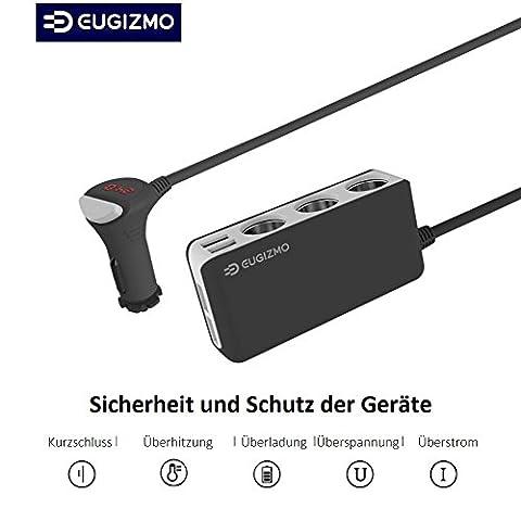 Auto Ladegerät Verteiler - Zigarettenanzünder Verteiler USB KFZ Ladegerät mit 4 USB Ports 6,5A, 3-Fach 12V/24V DC Car Charger Adapter Splitter - Auto Adapter für iPhone iPad, Navi, Handy, PC