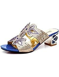 Mine tom Mujeres Forme Zapatos Imitación Diamante Verano Sandalias Flor De Mariposa Dedo Pío Los Deslizadores