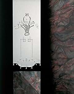 Coppia di Tende Ricamate a mano Liberty Made in Italy Misto Lino Varie Dimensioni (45x180)