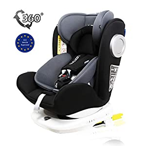 LETTAS Baby Car Seat for Child Group 0+/1/2/3 (0-36 kg/0-12 Year) ISOFIX+ Top Tether Rotation 360° (Black)   7