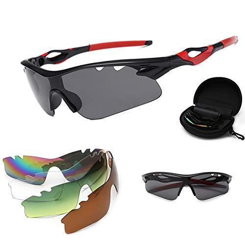 CHIRORO Polarisierte Sport Sonnenbrille Unisex Radbrille UV-Schutz Fahrradbrille Sportbrille mit UV400 5 Wechselgläser zum Radfahren, Klettern, Sports, Fahren,02#