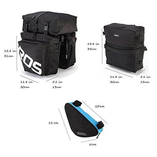 LKN Radfahren Fahrradtasche wasserdicht Fahrrad Hinterrad Pack Tasche Sattel Tasche mit Triangle Tasche vorne Satteltasche 37L-black