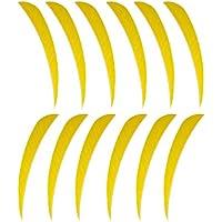 B Baosity 12 Unids Paletas Reemplazo Tiro con Archero Flecha Plumas Practicá Negro de Cazar Colorido - Amarillo, 3 Pulgadas