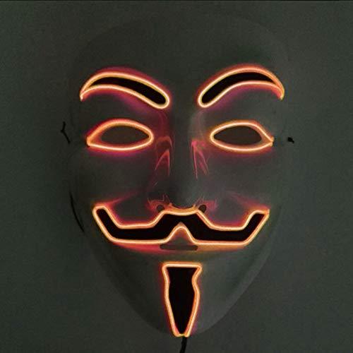 Halloween Maske, JunYee LED Anonymous Hacker Gesichtsmaske für Kostüm, Party, Festival, Cosplay, Halloween (Rot)