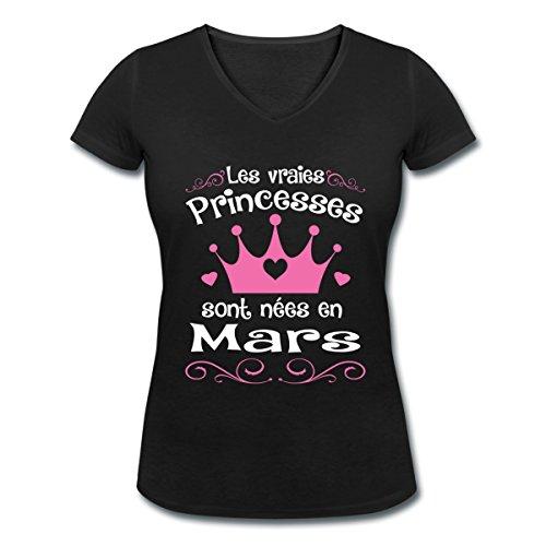 Anniversaire-Princesses-Sont-Nes-En-Mars-T-shirt-col-V-Femme-de-Spreadshirt