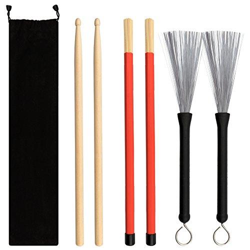 Vitasemcepli Set di 6 Bacchette Per Batteria 5a Drum Sticks Legno dAcero e Bambù Retraibili Spazzola Per Batteria filo dAcciaio Metallici Adatto per