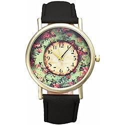 Sunnywill Mode Pastorale Floral Frauen Leder Band Analog Quarz Zifferblatt Armbanduhr für Frauen Damen Mädchen