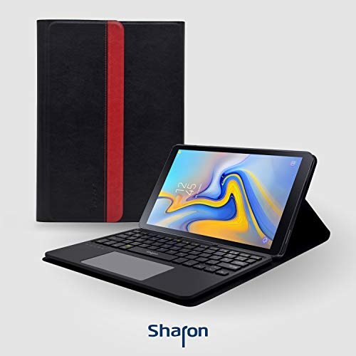 Sharon Galaxy Tab A 10.5 (2018) SM-T590 SM-T595 Schutztasche mit herausnehmbarer Bluthooth Tastatur und integriertem Multitouch-Touchpad | Deutsches QWERTZ- Layout -