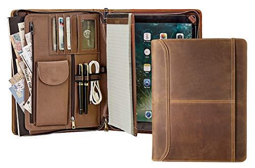 Handmade Vintage Genuine Leather Portfolio Organizer Case,A4 Conference Folder,iPad Pro 12.9 Case for Men,Business Padfolio Zipped,Brown