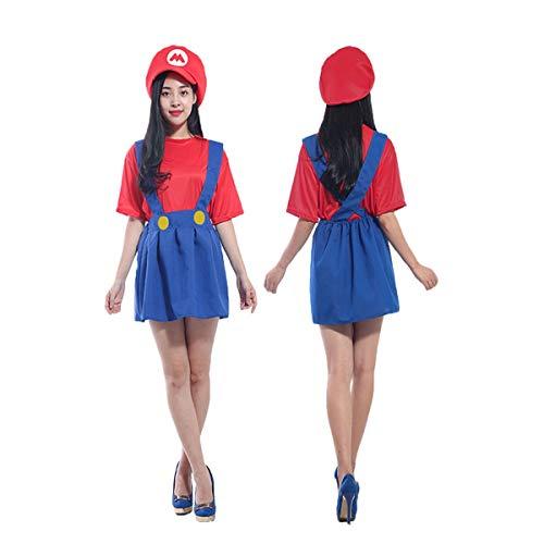 Super Mario Hat + Dress - Kostüm-Set für Damen - Perfekt für Karneval Cosplay (Geeignet für 150 cm - 170 Größe Kleid)