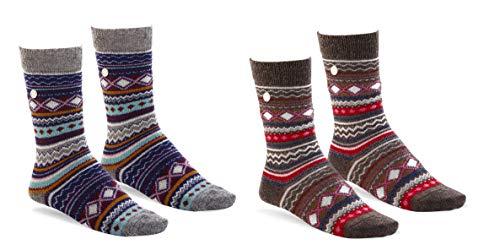 BIRKENSTOCK Fashion Ethno wärmende Socke aus hochwertiger Wollmischung im angesagten farbenfrohen Ethno Look Mehrfarbig (Denim/Dark Brown), EU 36-38