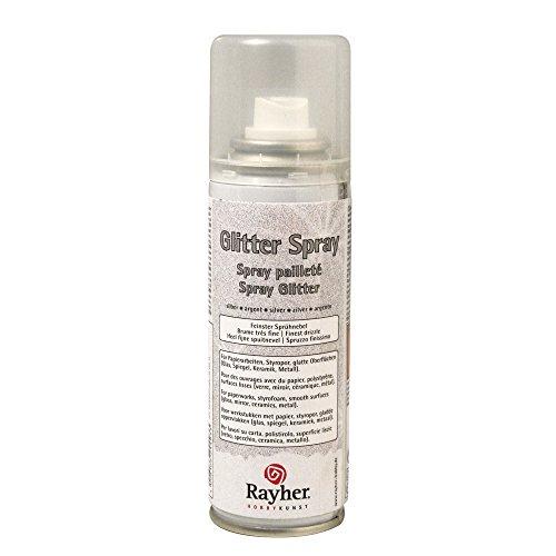 Rayher Hobby RAYHER - 3400122 - Glitter-Spray, 125 ml, silber (Spray Zubehör Glitter)