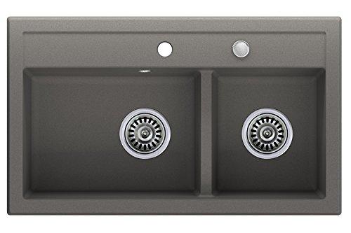 Granitspüle grau, 2-Becken, Drehexcenter + Siphon, Spülbecken, Küchenspüle, Schrankbreite ab 80 cm