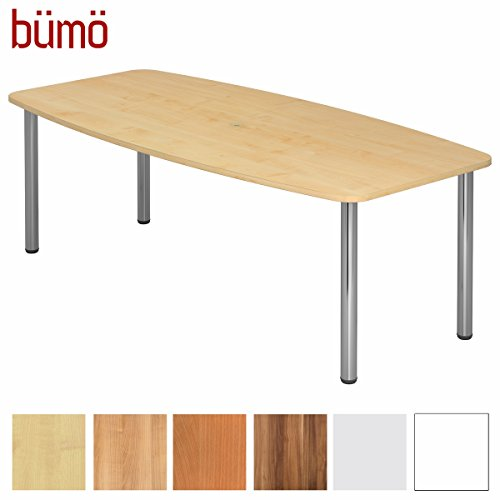 BÜMÖ Konferenztisch rund oval 220 x 103 cm in Ahorn | Besprechungstisch mit Chromfüße |...