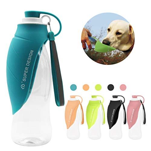 Petilleur JunBo Hund Wasserflasche Reise Tragbar Hund Trinkflasche Unterwegs mit Spüle in Silikon für Outdoor (Blau)