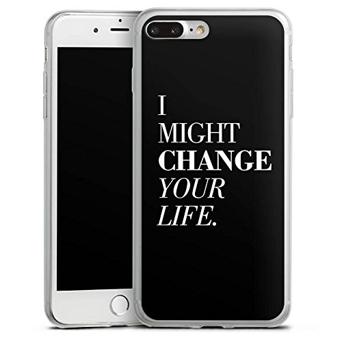 Apple iPhone 8 Plus Slim Case Silikon Hülle Schutzhülle Sprüche Statement Schwarz Silikon Slim Case transparent