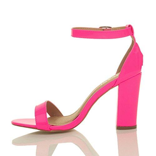 Damen Hochblockabsatz Riemchen Peep Toe Schuhe Knöchelriemen-Sandalen Größe Neon Fuchsienrosa Lack