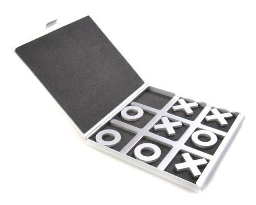 Azerus Alu Line: Tic-Tac-Toe - in Aluminium-Box, Reiseset, Spielsteine mit X & O, Spielbrett 10,5cm x 10cm x 0,6cm (XY008P DE)