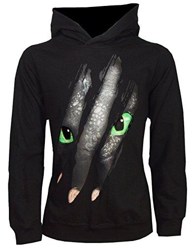 Dragons DreamWorks Kinder Kapuzenpullover/Hoodie Ohnezahn Toothless Kralle, schwarz (140-146) 142 Tv