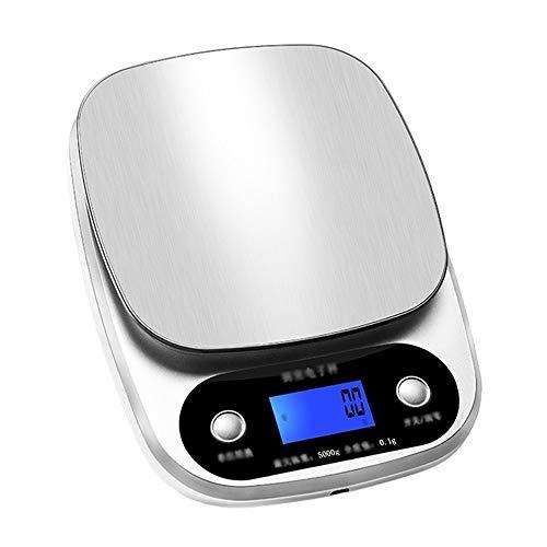 PQ Digitale Nahrungsmittelskala Küchenwaagen - Edelstahl, USB-Aufladung, Wasserdichte Arbeitsplatten, Digitalanzeige für die Hausarbeit. Anti-Rutsch-Drahtziehen (größe : 5kg)