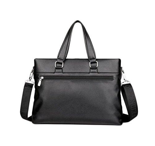 Documenti Aziendali Borsa In Pelle Uomo Computer Portatile Messenger Bag In Pelle Casuale Degli Uomini Bag Black1