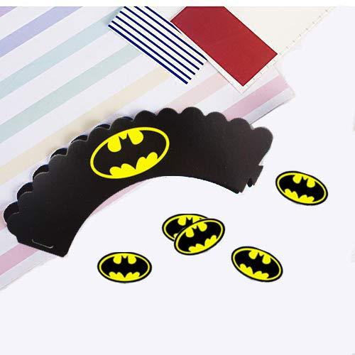 4199PgWRJjL - Envoltorio para tartas de superhéroe (48 unidades), decoración para tartas de superhéroe, suministros para fiesta de superhéroes, decoración para pasteles de Superman