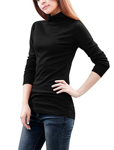 Allegra K Cintré Femme Col Roulé Manches Longues Droit A Découper Chemise Black