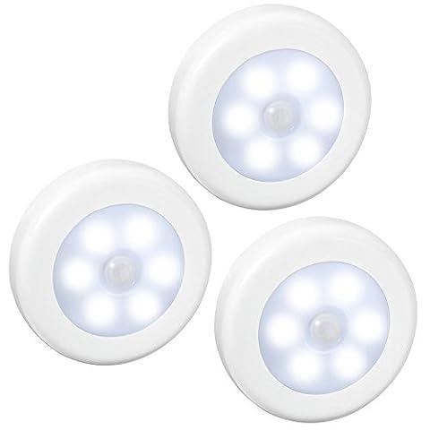 AMIR Motion Sensor Light, (6 LED, 3 Pack) Cordless Battery-Powered
