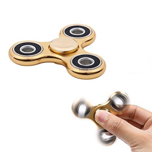 Tumi fidget hand spinner metal - il miglior gioco per ridurre lo stress - perfetto per l'ansia e lo stress - per adulti o bambini - oro metallo