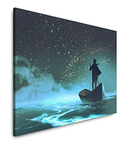 Paul Sinus Art Mann im Boot 40 x 60 cm Inspirierende Fotokunst in Museums-Qualität für Ihr Zuhause als Wandbild auf Leinwand in