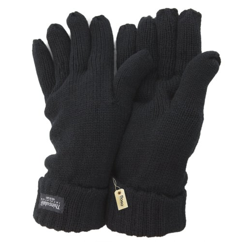 FLOSO® Damen Thinsulate Strickhandschuhe (One size) (Schwarz) (Handschuhe Damen Thinsulate)