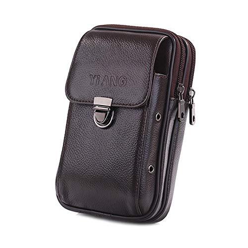 FOONEE Leder Hüfttasche für Herren, Gürtel Rindsleder Gürteltasche mit 1 Flip Tasche und 2 Reißverschlusstaschen, Handy Pouch mit 2 Metall Sound Löcher auf Jeder Seite 1 Herren-leder -
