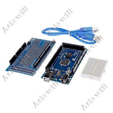 MEGA Asiawill DIY combinazione Funduino MEGA 2560 R3 scheda di sviluppo + V3 Prototype scheda di espansione + Cavo USB compatibile con ARDUINO