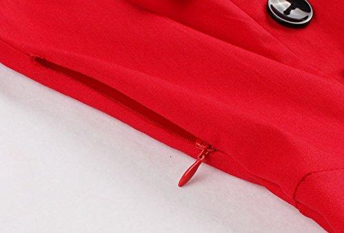 VERNASSA 50s Rétro Robe,Vintage 1950s Robe de Coton Groupe Rockabilly Soirée Cocktail, Multicolore, Taille S-4XL 1357F-Rouge
