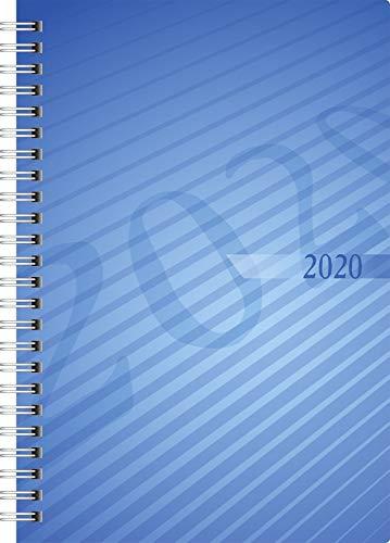 rido/idé 702110230 Buchkalender futura 2 (2 Seiten = 1 Woche, 148 x 208 mm, PP-Einband, Kalendarium 2020, Wire-O-Bindung) blau